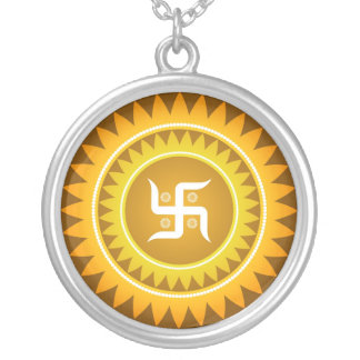 Swastika Design Silver Plated Necklace