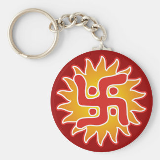 Swastika : Indian Traditional Symbol Basic Round Button Key Ring