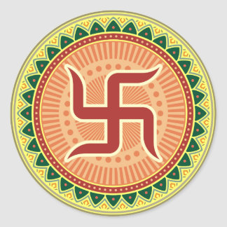 Swastika with Traditional Indian style Mandana Classic Round Sticker