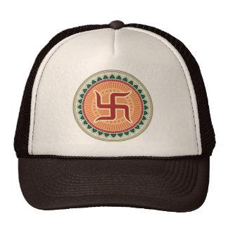 Swastika with Traditional Indian style Mandana Mesh Hat