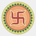 Swastika with Traditional Indian style Mandana Stickers