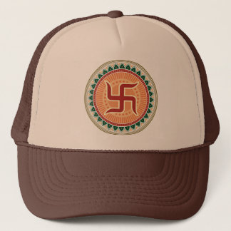 Swastika with Traditional Indian style Mandana Trucker Hat