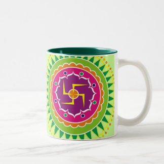 Swastika with Traditional Indian style Mandana Two-Tone Coffee Mug