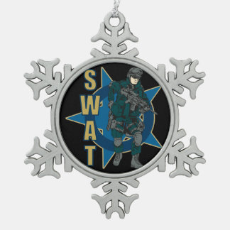 SWAT Police Officer Pewter Snowflake Decoration