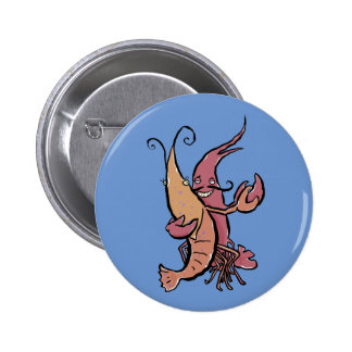 swaying lobsters 6 cm round badge