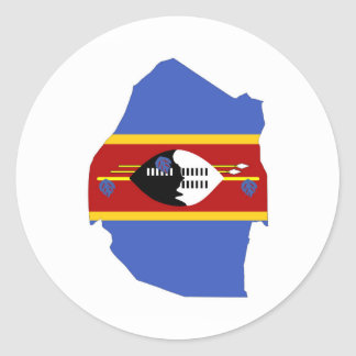 swaziland country flag map shape symbol classic round sticker