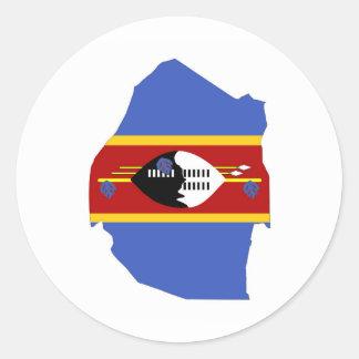 swaziland country flag map shape symbol round sticker
