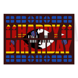 Swaziland Flag Birthday Card