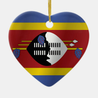 Swaziland flag ceramic heart decoration