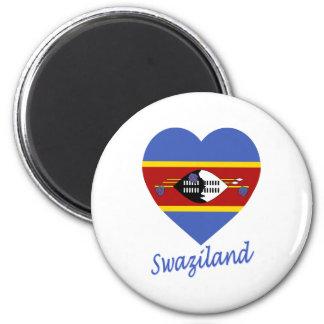 Swaziland Flag Heart 6 Cm Round Magnet