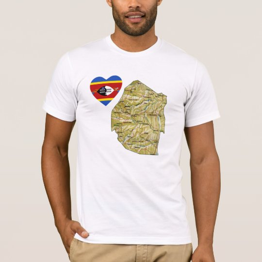 Swaziland Flag Heart and Map T-Shirt