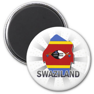 Swaziland Flag Map 2.0 6 Cm Round Magnet