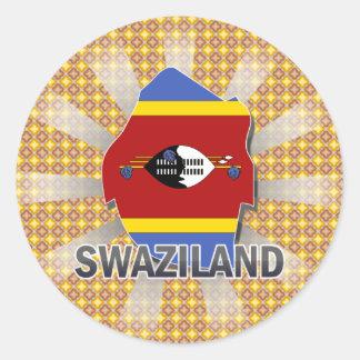Swaziland Flag Map 2.0 Round Sticker