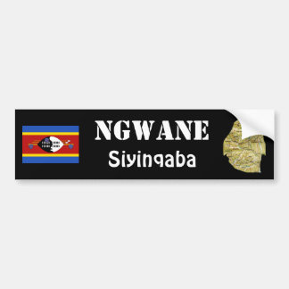 Swaziland Flag + Map Bumper Sticker