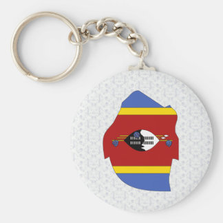 Swaziland Flag Map full size Basic Round Button Key Ring