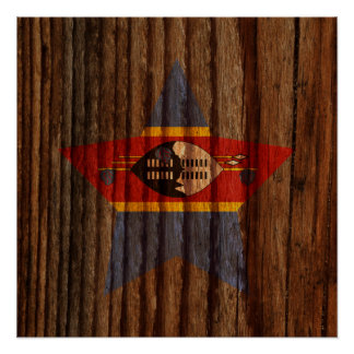 Swaziland Flag Star on Wood theme Poster