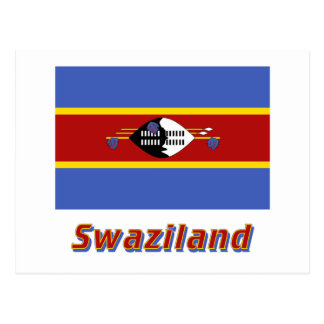 Swaziland Flag with Name Postcard
