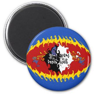 Swaziland Gnarly Flag 6 Cm Round Magnet