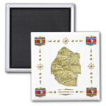 Swaziland Map + Flags Magnet