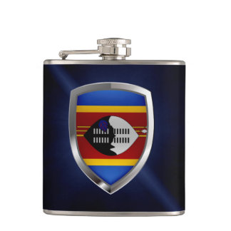 Swaziland Metallic Emblem Hip Flask