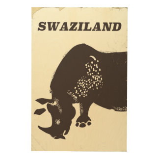 Swaziland Rhino vintage style travel poster Wood Prints