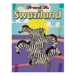 Swaziland Vintage Travel Poster Post Card