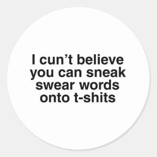 Swear words round sticker