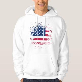 Sweat A Hood White Man BASIC the USA Flag Hoodie
