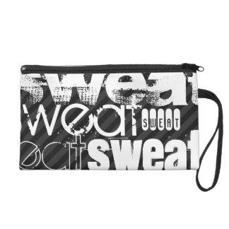 Sweat; Black & Dark Gray Stripes Wristlet Clutches