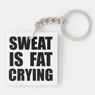 Sweat Crying Double-Sided Square Acrylic Key Ring