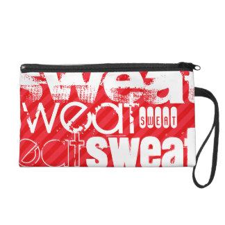 Sweat; Scarlet Red Stripes Wristlet