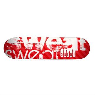 Sweat; Scarlet Red Stripes Skate Board Decks