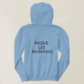 """Sweat with hood """"Screws human"""" blue Hoodie"""