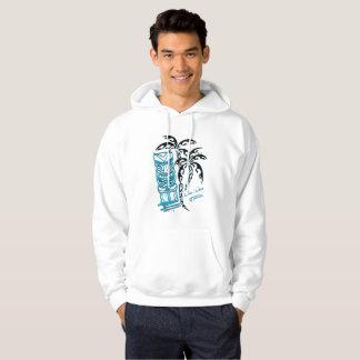 Sweat with hood white man palm trees tiki hoodie