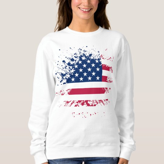 Sweat Woman White BASIC the USA Flag Sweatshirt