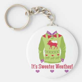 Sweater Weather Basic Round Button Key Ring