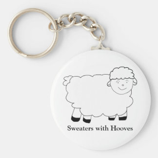 Sweaters With Hooves Basic Round Button Key Ring