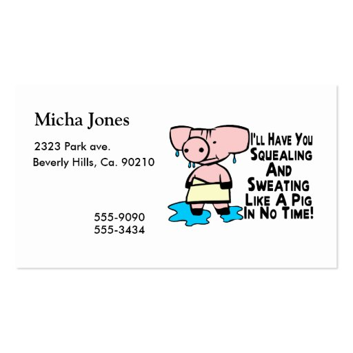 Sweating Like A Pig Business Card Templates