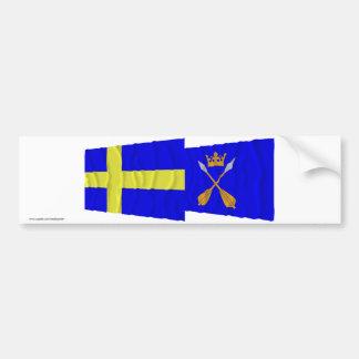 Sweden and Dalarnas län waving flags Bumper Sticker