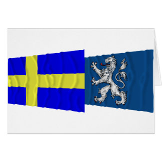 Sweden and Hallands län waving flags Greeting Card