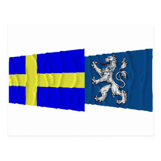 Sweden and Hallands län waving flags Postcard