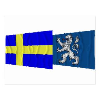 Sweden and Hallands län waving flags Postcard