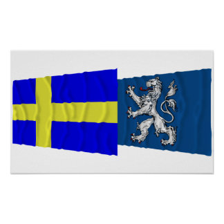 Sweden and Hallands län waving flags Poster