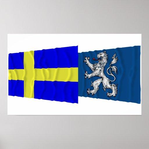 Sweden and Hallands län waving flags Print