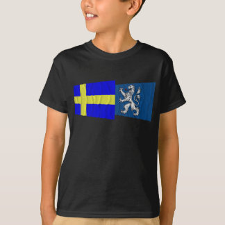 Sweden and Hallands län waving flags T-Shirt