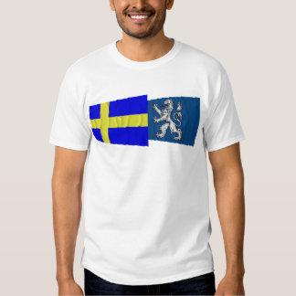Sweden and Hallands län waving flags Tshirts