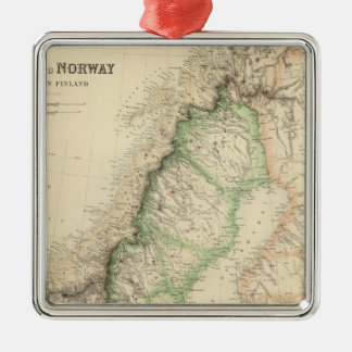 Sweden and Norway 7 Silver-Colored Square Decoration