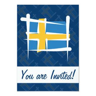 Sweden Brush Flag 13 Cm X 18 Cm Invitation Card