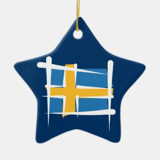 Sweden Brush Flag Ceramic Star Decoration
