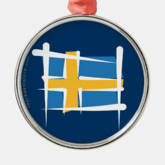 Sweden Brush Flag Silver-Colored Round Decoration